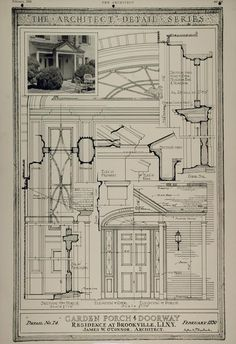 1930 Print Porch Door Home Brookville NY James O'Connor - ORIGINAL ARC1 Architecture Blueprints, Architecture Drawing Plan, Arch Architecture, Brick Construction, Construction Drawings, Craftsman Trim, Brick Arch, Porch Doors, Vintage House Plans