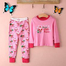 Toddler Baby Kids Girls Sleepwear Pajama Pyjama Set long sleeve top+pants Christmas Santa sleepwear Outfits 2-8Y(China (Mainland))