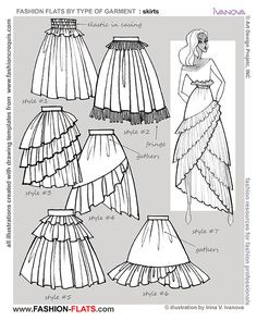 """anatoref: """"Drawing Skirts Row 1, 2, & 3 (Left) Row 3 (Right) Row 4 (sent by a friend, Source Unknown) Row 5 """""""