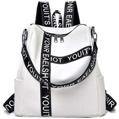 White Casual Wild Shoulder Bag Printed Letter Design Backpack (€11) ❤ liked on Polyvore featuring bags, backpacks, white backpack, white rucksack, rucksack bags, shoulder bag backpack and backpack shoulder bag