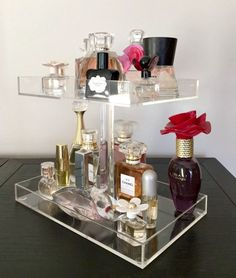 "Perfume Storage Holder 2 Tiers Clear Acrylic Makeup Organizers, Dimensions: Bottom Tray 9.5""W x 6.0""D Top Tray 8.0""W x 6.0"" D Acrylic Rod 8.0""H"