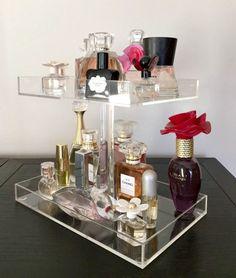 "Perfume Storage Holder 2 Tiers Clear Acrylic Makeup Organizers, Dimensions: Bottom Tray 9.5""W x 6.0""D Top Tray 8.0""W x 6.0"" D Acrylic Rod 8.0""H"