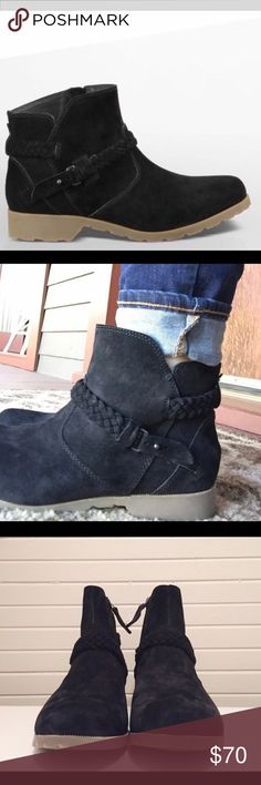 Teva suede ankle boots! Only worn once and adorable! EUC. Black suede and excellent quality. Summer or winter style Teva Shoes Ankle Boots & Booties