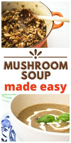Mushroom soup made easy with this simple recipes. Perfect for lunch or dinner. Made with a few simple ingredients. Great for beginners. Suitable for vegans and vegetarians. #mushroomsoup #easymushroomsoup #soup #vegansoup #easysoup #easyvegansoup #mushroomrecipes #mushrooms #veganlunch Fast Dinner Recipes, Lunch Recipes, Soup Recipes, Vegan Recipes, Cooking Recipes, Easy Mushroom Soup, Mushroom Recipes, Make Ahead Meals, Easy Meals