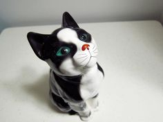 {vintage Ceramic Tuxedo Cat} with green eyes and a cute lil red nose