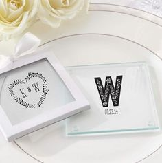 Personalized Glass Coasters with Rustic theme design. #weddingcoasters
