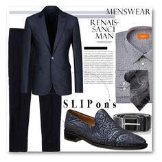 """Menswear:  Slipons"" by sherrie-mock ❤ liked on Polyvore featuring Tallia Orange, Maison Margiela, Diesel, Emporio Armani, Van Heusen, Oris, men's fashion, menswear and slipons"
