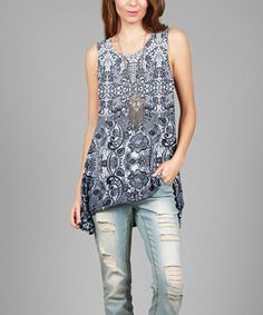 This Blue & White Paisley Hi-Low Tunic - Plus is perfect! #zulilyfinds