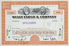 Wells Fargo & Company stock certificate, 1970 Money Template, Stocks And Bonds, Enterprise Business, Common Stock, Stock Portfolio, Euro Coins, Retro Vector, Antique Coins, Business Company