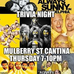 Tonight @mulberrystreetcantina w/ @leanmachineusa #seeyouthere #trivia #cocktails #foodporn #foodie #gourmet #sliders #dosomethingdifferent #dentoning #downtowndenton #thursday #itsalwayssunnyinphiladelphia #nightmancometh #doit #prizes #cash #newmenuitems #dentonslacker #denton #dentontx #doingitdenton #unt #twu #leanmachine #dentonite #discoverdenton #scoutdenton