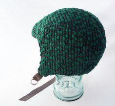 Charcoal Gray Wool Aviator Hat with Chunky Emerald by rocksandsalt