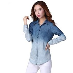 cool Women's Denim Gradual Jeans Single-Breasted Long Sleeve Shirt Blouse - For Sale