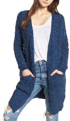 Cable Knit Blue Chenille Cardigan -- love this simple outfit idea. I need this cardigan in all the colors! (aff link)