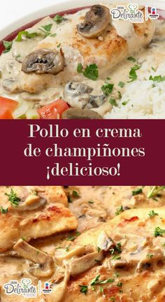 Chicken in cream of mushroom soup- Pollo en crema de champiñones Mushroom Cream Chicken Recipe Mexican Dishes, Mexican Food Recipes, Dinner Recipes, Deli Food, Cooking Recipes, Healthy Recipes, Corn Dogs, Food Dishes, Chicken Recipes