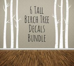 NURSERY TREE WALL DECAL, Birch Trees Bundle of 6, Removable Vinyl Wall - annasee