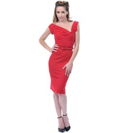 SALE! Red Va Va Voom Cocktail Dress - Unique Vintage - Prom dresses, retro dresses, retro swimsuits.