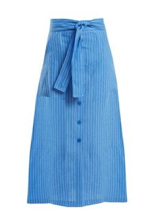 Mid-rise striped linen skirt | Diane Von Furstenberg | MATCHESFASHION.COM UK