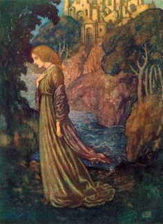 "Annabelle Lee, Edmund Dulac ""It was many and many a year ago, In a kingdom by the sea, That a maiden there lived whom you may know By the name of Annabel Lee;…."" Said to be his wife."