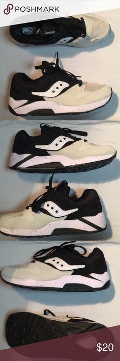 Saucony Grid 9000s Size 8.5 Hello! I'm selling my pair of Saucony Grid 9000s because they are a little too big for me. They are in great condition and were only worn once. One downside is I no longer have the box. They are size 8.5 Mens & the color scheme is Black/Off-White/White Saucony Shoes Sneakers