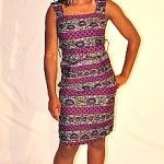 African print shift dress -purple