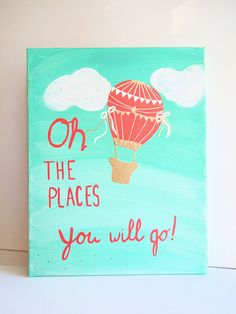Coral Mint Gold Nursery Canvas Art / Oh the by LilysNurseryShop