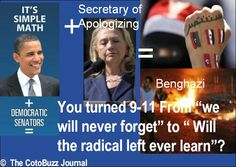 """As Bill Clinton might say, its a simple math problem stupid!  You turned 9-11 from """"we will never forget"""" to """"When will the radical left ever learn""""?"""