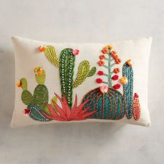 Embroidery Stitches Sunset Cactus Lumbar Pillow - The most colorful cactuses of the Southwest are embroidered and appliqued to create this charming pillow for your sofa, bed or chair-without the prickly spines. Embroidery Art, Embroidery Stitches, Embroidery Patterns, Cactus Embroidery, Embroidered Cactus, Embroidered Pillows, Crochet Stitches, Sewing Pillows, Diy Pillows