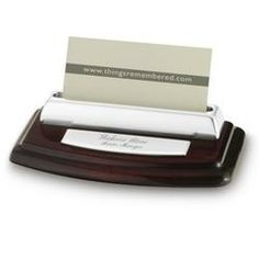 High Gloss Mahogany Silver Card Holder  $25.00