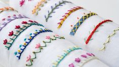 hand embroidery stitches tutorial step by step Hand Embroidery Projects, Hand Embroidery Videos, Embroidery Stitches Tutorial, Embroidery Flowers Pattern, Creative Embroidery, Simple Embroidery, Silk Ribbon Embroidery, Embroidery For Beginners, Hand Embroidery Designs