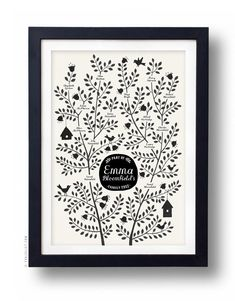 BIRDS Family Tree, CUSTOMIZABLE - Black & White, 13 X 19  and other designs.