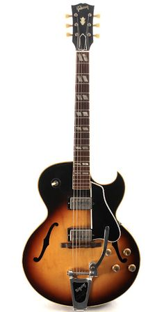 This actually makes me dizzy when I look at it... Gibson ES-175 with Bigsby 1964.
