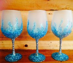 Frosted and glitter wine glasses on Etsy, $5.00