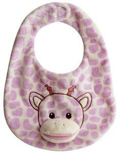 "Giggles Purple Giraffe Bib 11"" by Aurora Aurora"