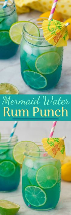 Mermaid Water Rum Punch Cocktail will make you feel like you're on a tropical island and perfect for a hot summer day. Multiply the ingredients to make a big batch for your next holiday party or picnic! (on holiday summer) Party Drinks, Fun Drinks, Alcoholic Drinks, Beverages, Picnic Drinks, Bartender Drinks, Rum Punch Cocktail, Cocktail Drinks, Blue Curacao