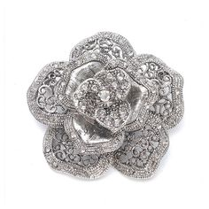 """Art Deco Vintage Rose Brooch is 2 1/4"""" Round with Pave Crystals. Plated in Rich Silver Rhodium. Wear this pin on a bridal sash, or with a faux fur wrap. Can be worn as a hair accessory with our Hair Comb Adapter"""