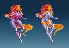Starfire Redesign by jadenwithwings on DeviantArt Starfire Dc, Teen Titans Starfire, Teen Titans Drawings, Teen Titans Costumes, Heavy Metal Comic, Superman Story, Superhero Design, Dc Characters, Super Hero Costumes
