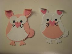 Stampin Up Owl Die Paper Piece Bunny Pink and White