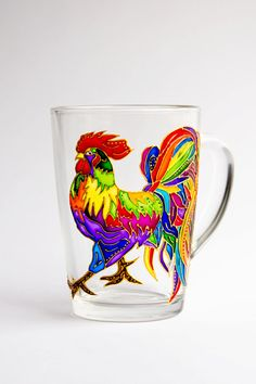 Roster Mug Painting Rooster Custom Coffee Mug от Vitraaze на Etsy