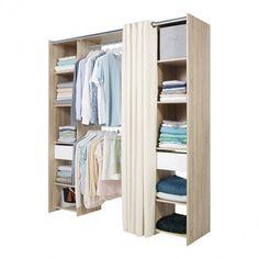 Garderoba z 2 szufladami i zasłoną 200 x 180 x 40 cm
