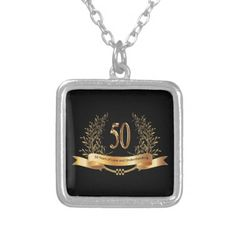 Happy 50th Wedding Anniversary Gifts Silver Plated Necklace 50