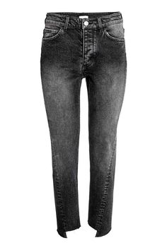 Straight Ankle Jeans: 5-pocket ankle-length jeans in washed stretch denim with worn details and darker patches. High waist, button fly and straight legs with raw, uneven hems.