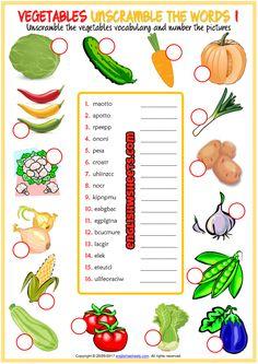 Vegetables Worksheets for Kindergarten. 24 Vegetables Worksheets for Kindergarten. Here is Very Easy Counting Worksheet for Preschool Worksheets For Class 1, Free Kindergarten Worksheets, Vocabulary Worksheets, Vowel Worksheets, Printable Worksheets, Unscramble Words, Esl Learning, Vegetable Pictures, English Language Learners