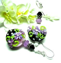 Purple Earrings Pink Earrings Lampwork Earrings by SeeMyJewelry
