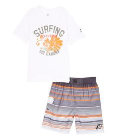 White Point Break 'Surfing' Top & Shorts - Boys #zulily #zulilyfinds