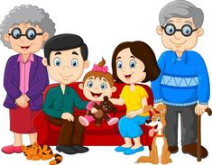 Happy Family - Cartoon happy family isolated on white background Wall Mural Family Picture Cartoon, Family Pictures, Big Family, Happy Family, Family Clipart, Happy Grandparents Day, Motivational Stories, Family Illustration, Cartoon Kids