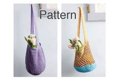 Two Market Bag Crochet Patterns, Get Both Patterns, Book Bag, Beach Bag, Crocheted Tote Pattern