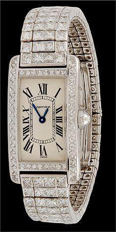 CARTIER Gold Diamond Tank Americaine Rivere Watch - Yafa Jewelry