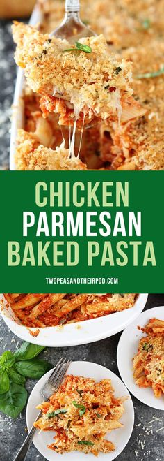 Chicken Parmesan Baked Pasta-chicken parmesan and cheesy baked pasta are made in one pan! This easy cheese baked pasta is a family favorite dinner! #dinner #chickenrecipe #chickendinner #pasta #EasyRecipes