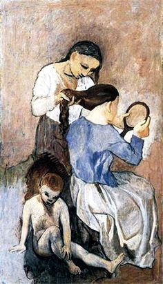 """Hairdressing"".....Artist: Pablo Picasso Completion Date: 1906 Style: Expressionism Period: Rose Period Genre: genre painting Technique: oil Material: canvas Dimensions: 175 x 99.7 cm."
