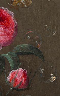 """Vanitas Still Life"""" (details), c.1665-70, Jan van Kessel."""